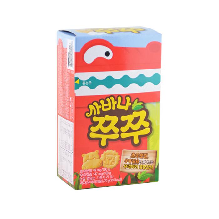 包邮】韩国crown可拉奥小动物猪猪饼干70g进口零食