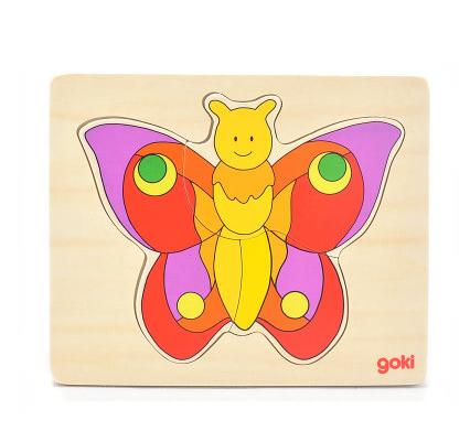 德国goki经典场景木质拼图立体拼板双层卡通动物宝宝儿童益智玩具